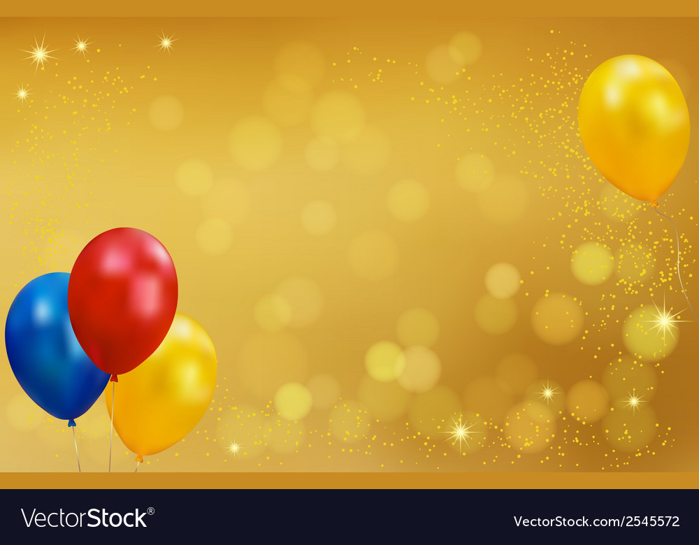 Holiday gold background with balloons vector | Price: 1 Credit (USD $1)
