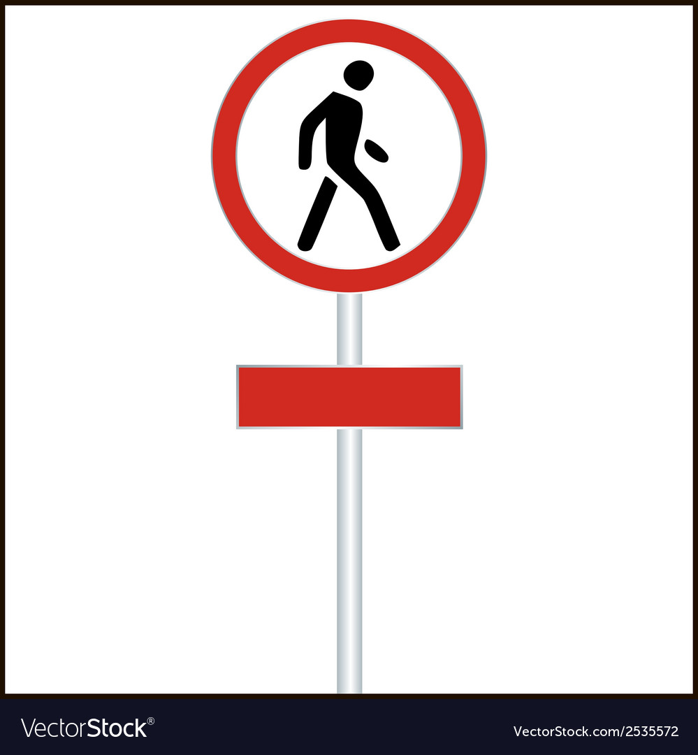 Pedestrian red traffic sign on white - vector | Price: 1 Credit (USD $1)