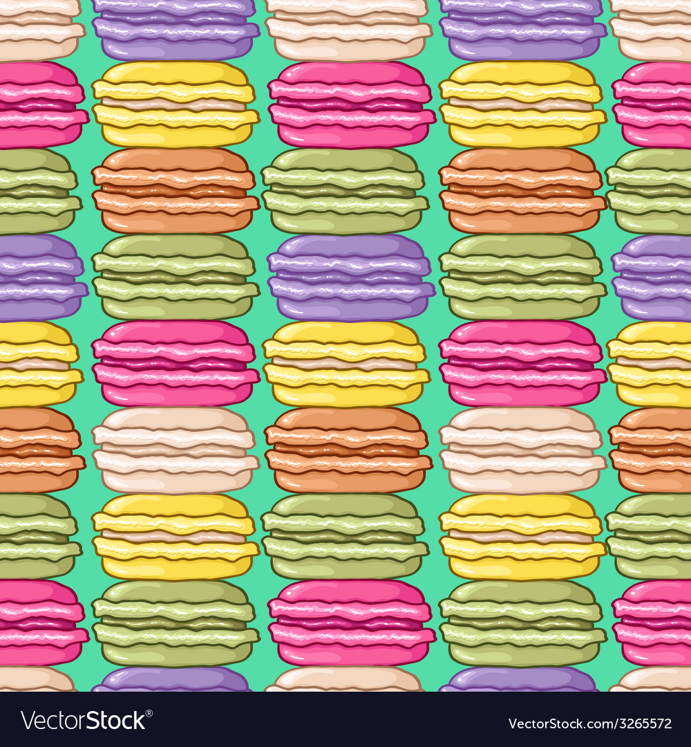 Seamless cute retro colored macarons pattern vector   Price: 1 Credit (USD $1)
