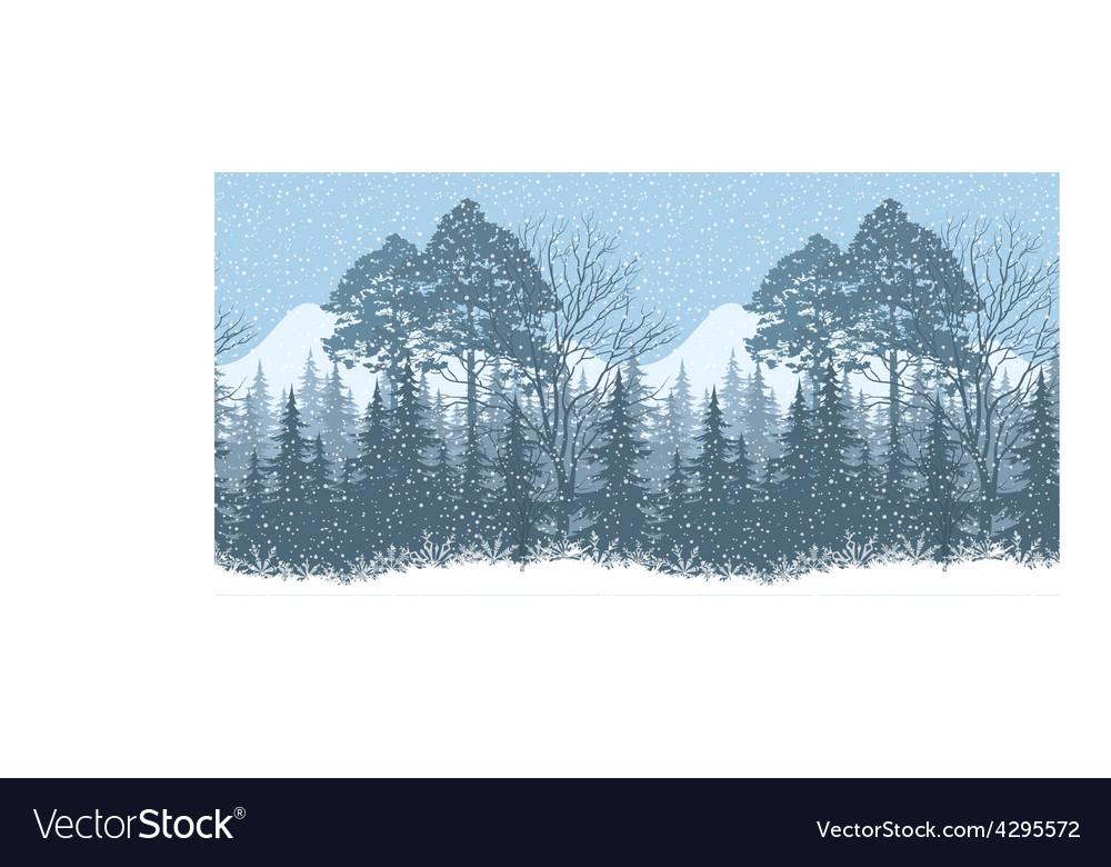 Seamless winter woodland landscape vector | Price: 1 Credit (USD $1)
