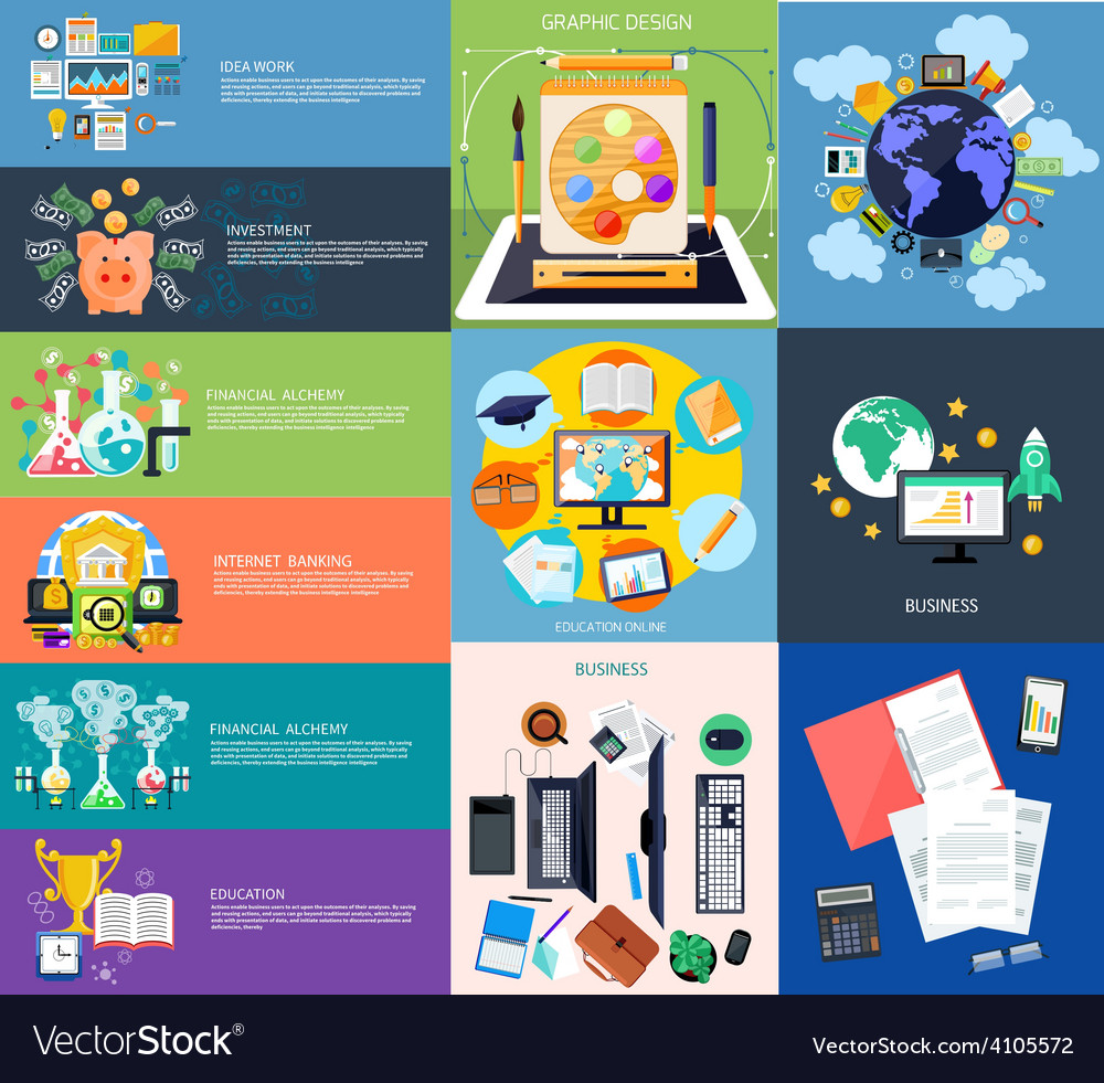 Set of business banners vector