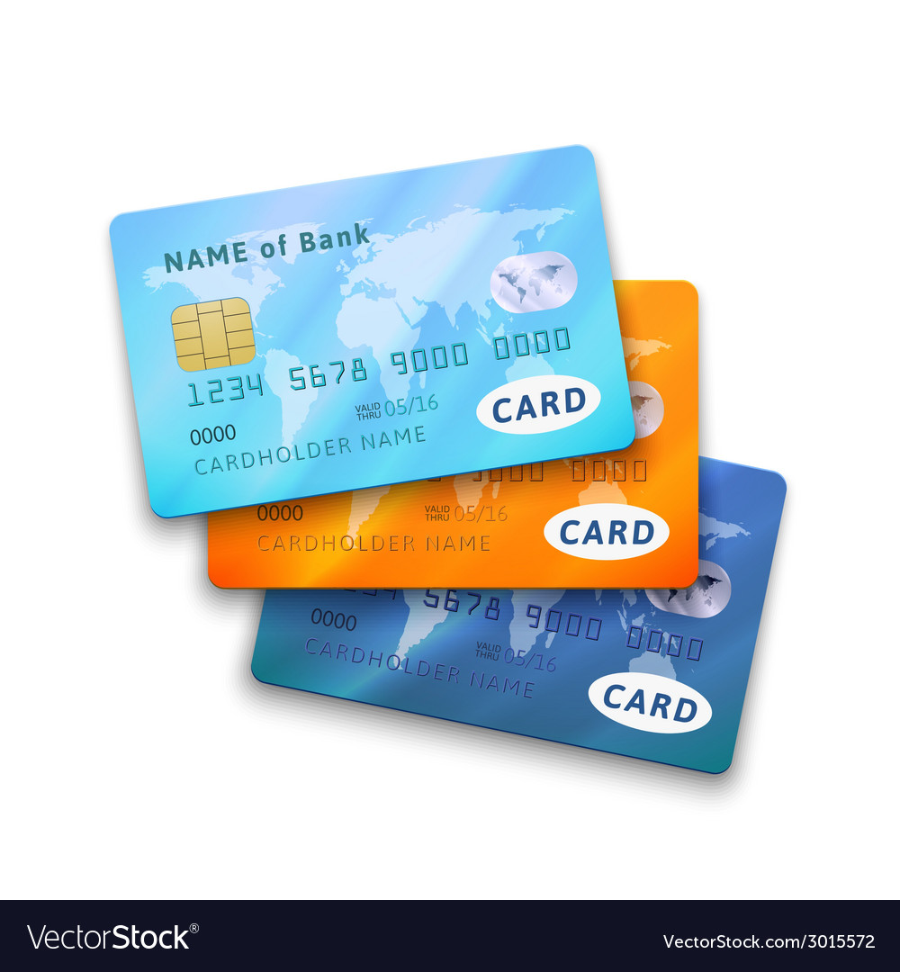 Set of detailed glossy credit cards vector | Price: 1 Credit (USD $1)