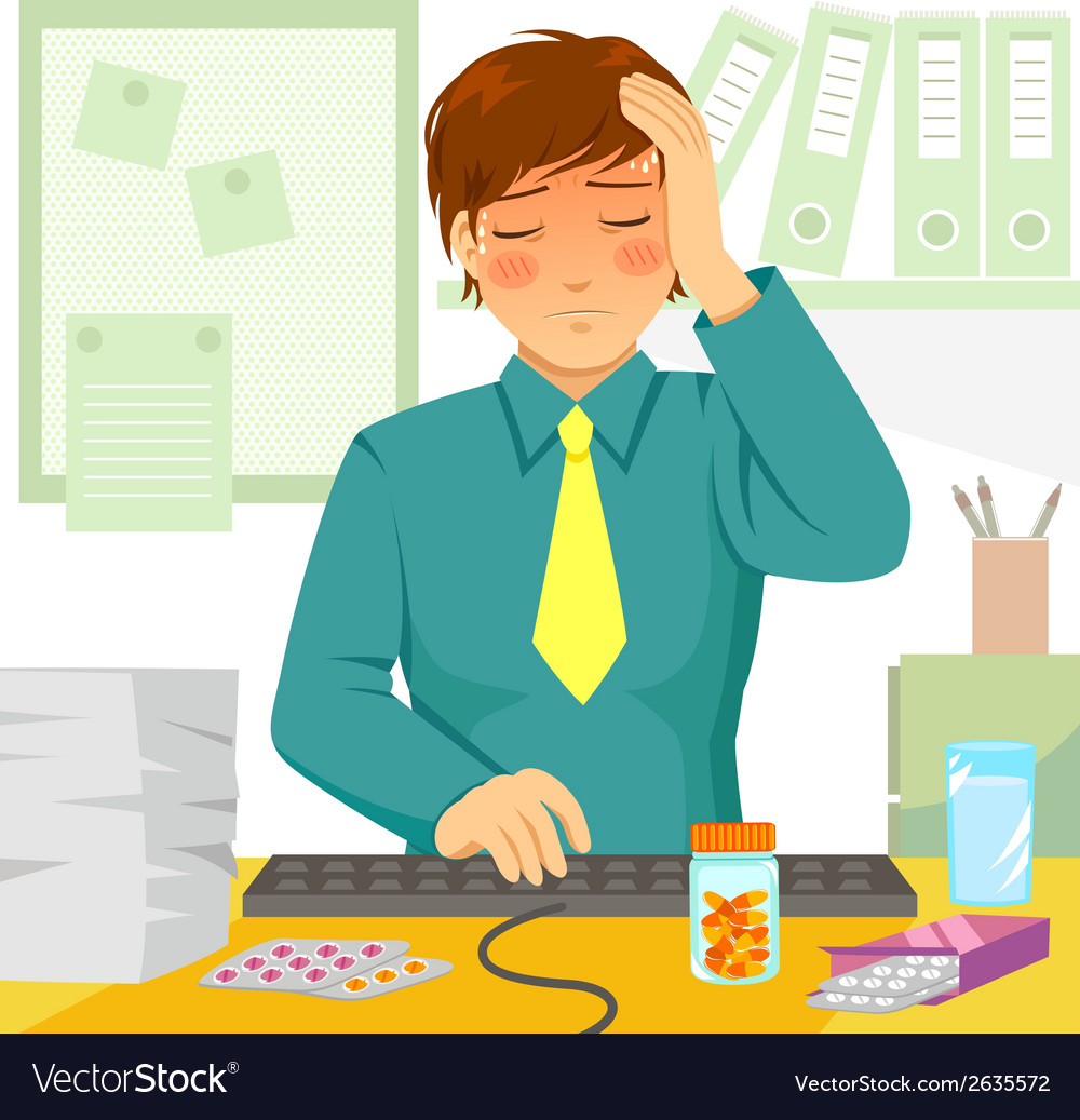 Sick at work vector | Price: 1 Credit (USD $1)