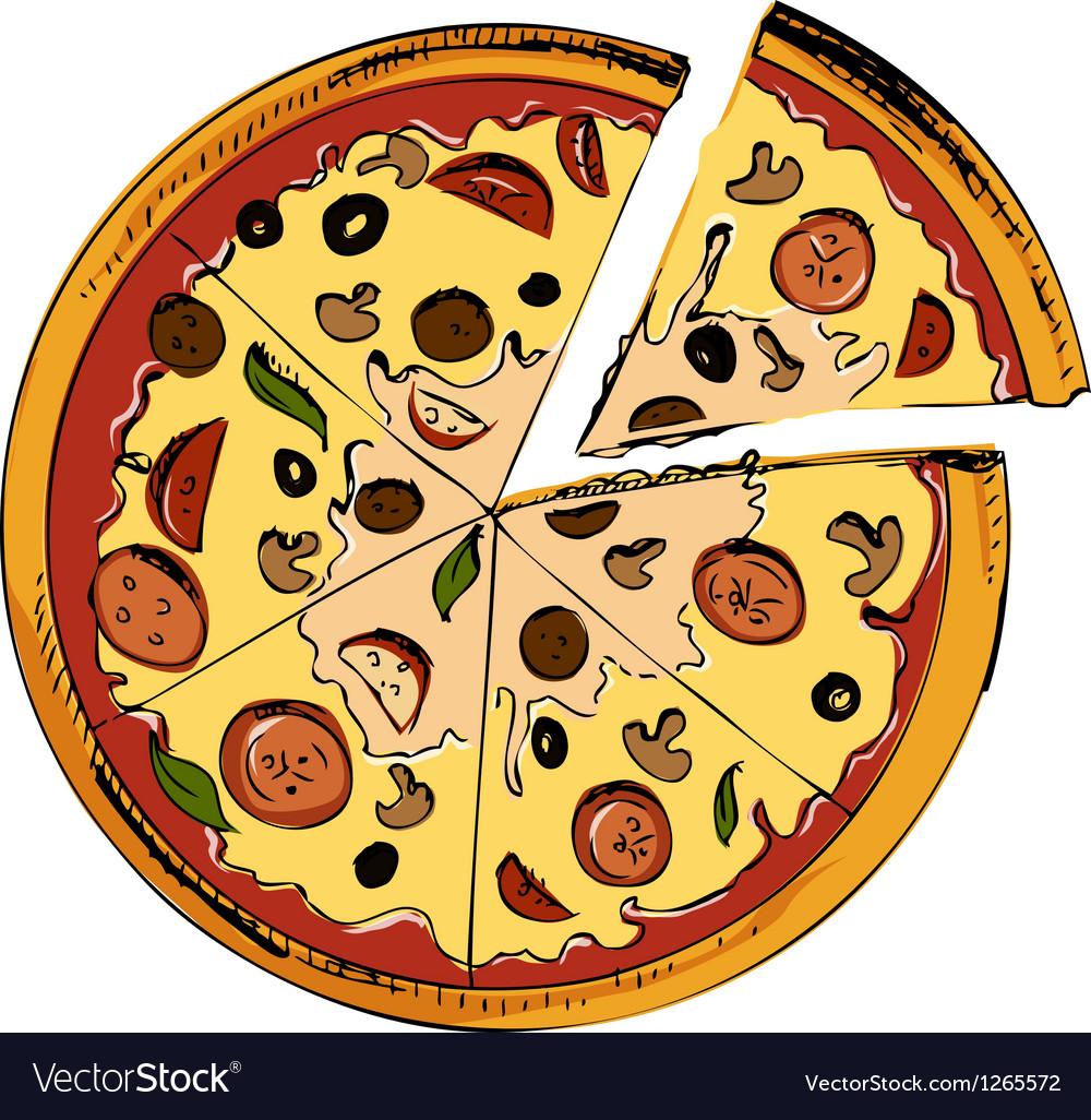 Sliced pizza icon vector | Price: 1 Credit (USD $1)