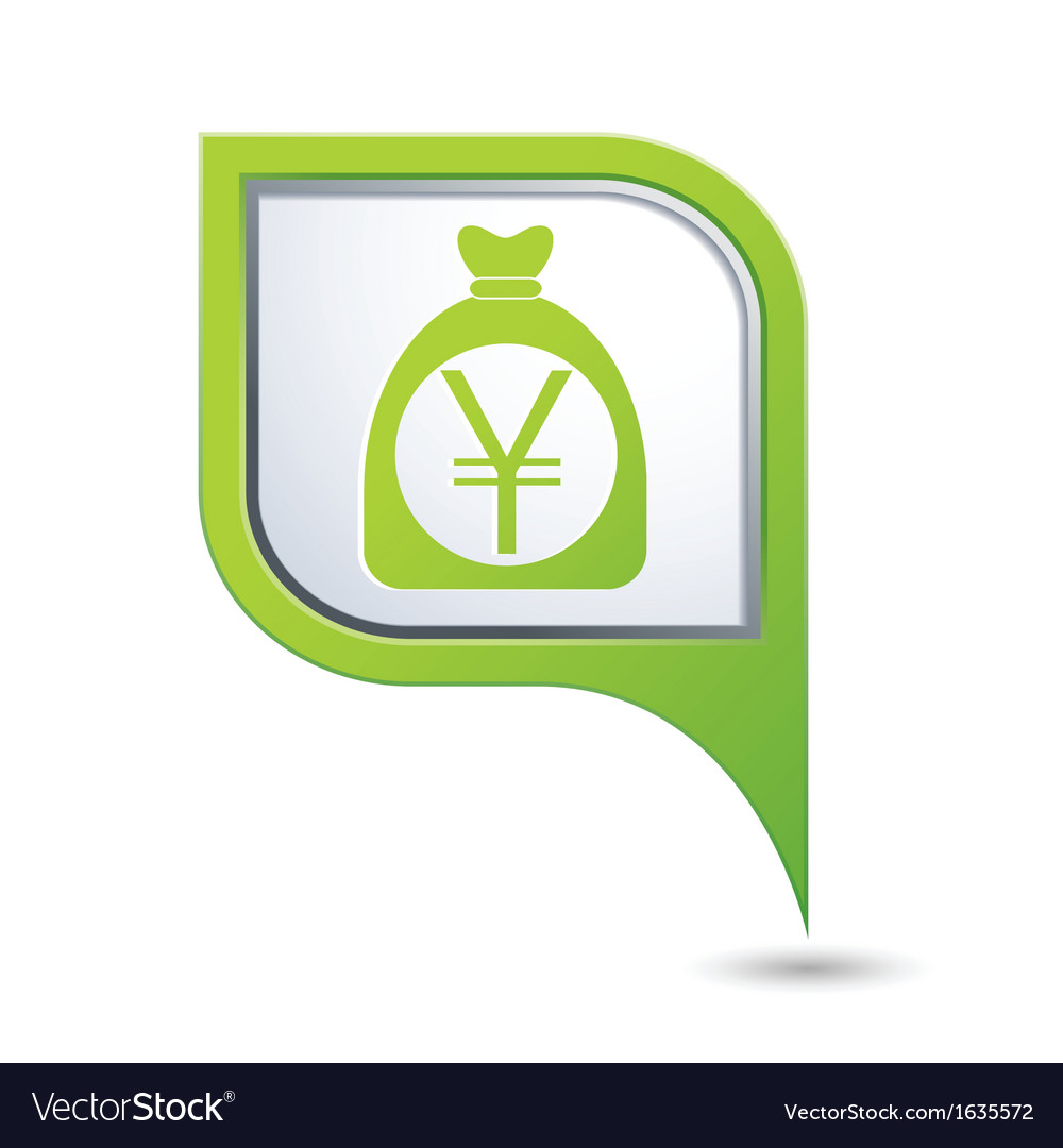 Yen icon green map pointer vector | Price: 1 Credit (USD $1)