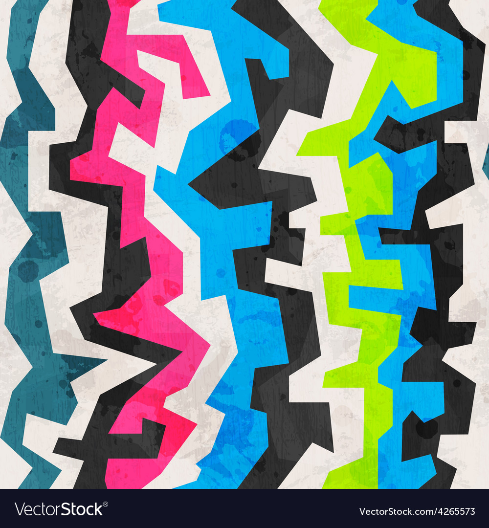 Abstract colored geometric grunge seamless pattern vector | Price: 1 Credit (USD $1)