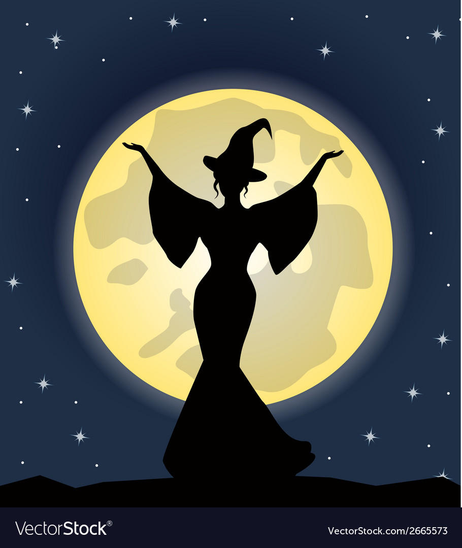 Beautiful witch standing on background of the moon vector | Price: 1 Credit (USD $1)