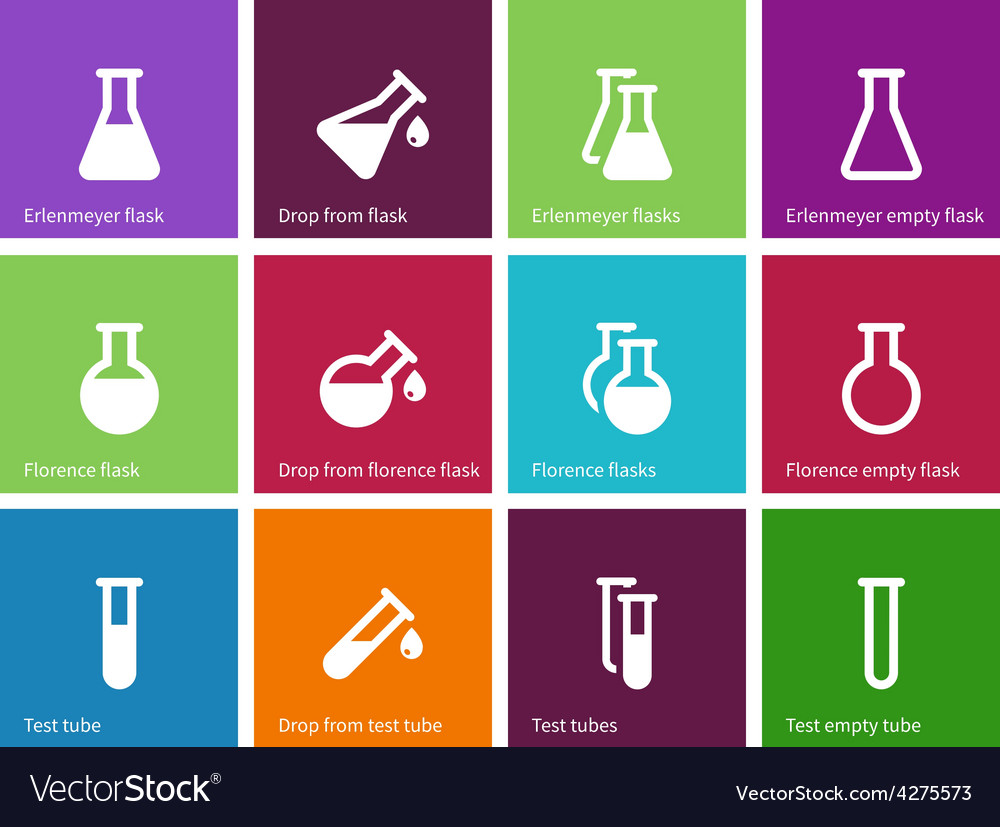Chemical laboratory flask icons on color vector | Price: 1 Credit (USD $1)