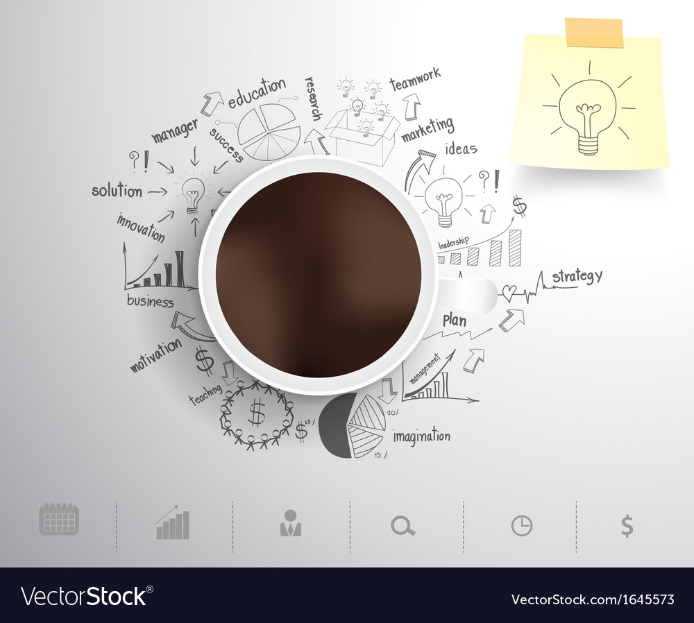 Coffee cup on drawing business strategy vector | Price: 1 Credit (USD $1)