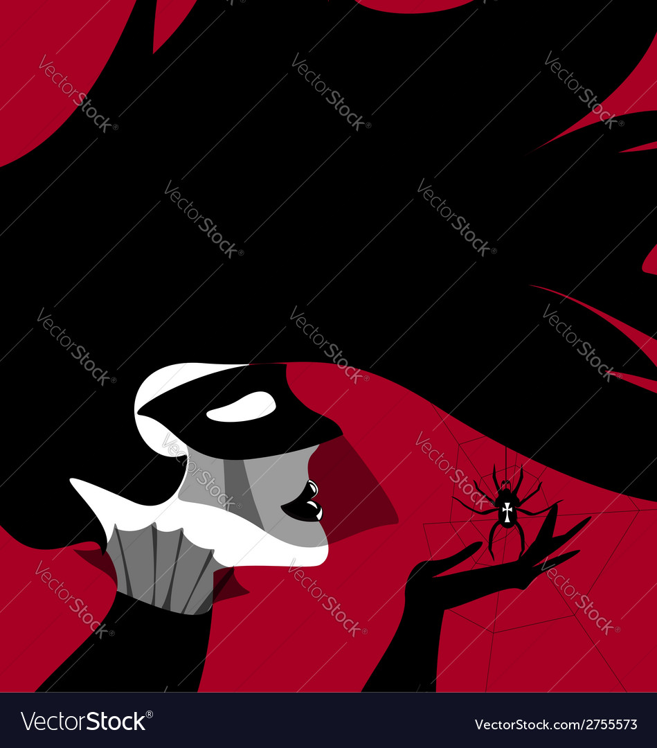 Dark lady and spider vector | Price: 1 Credit (USD $1)