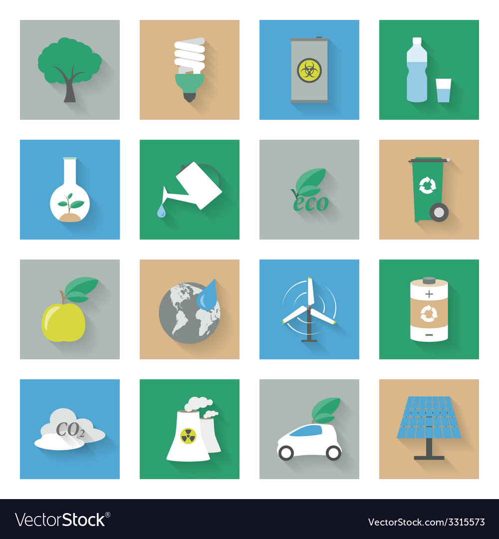 Ecology flat icons set with shadows vector | Price: 1 Credit (USD $1)