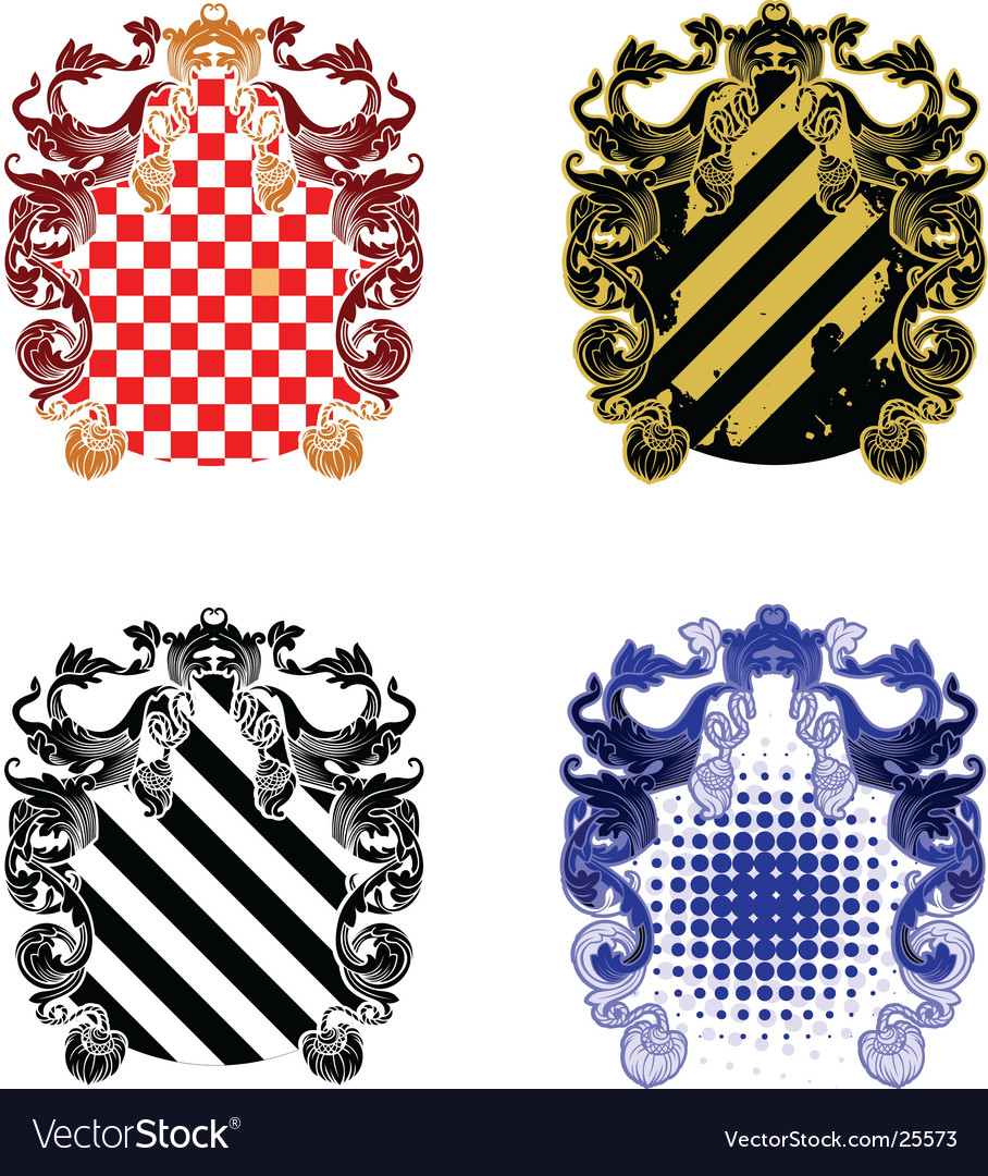 Four ornate and grunge shields vector | Price: 1 Credit (USD $1)