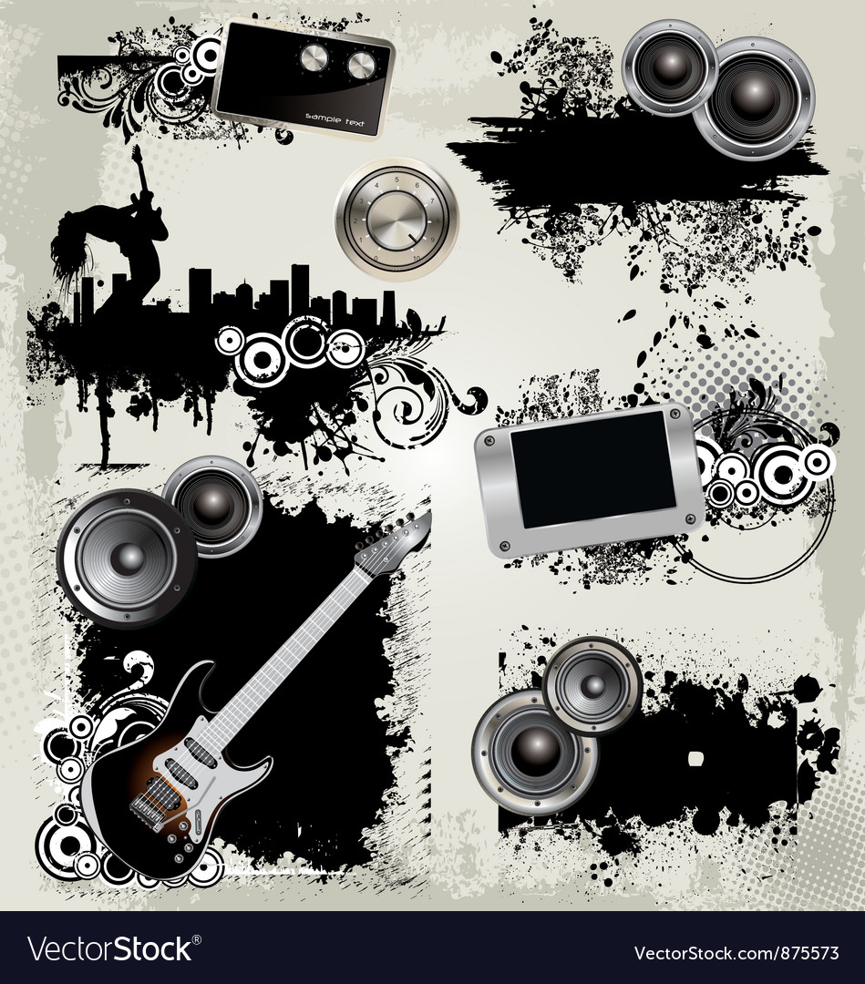Grunge music elements vector | Price: 1 Credit (USD $1)