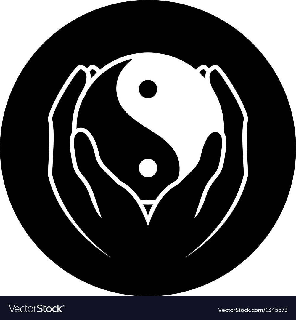 Hands holding yin yang symbol vector | Price: 1 Credit (USD $1)