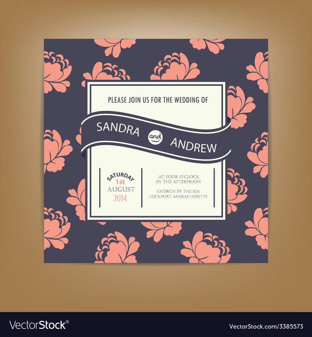 Invitation card dark with pink flowers vector | Price: 1 Credit (USD $1)