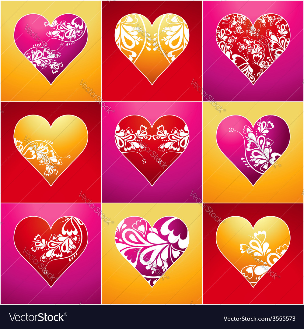 Nine lovely color heart vector | Price: 1 Credit (USD $1)