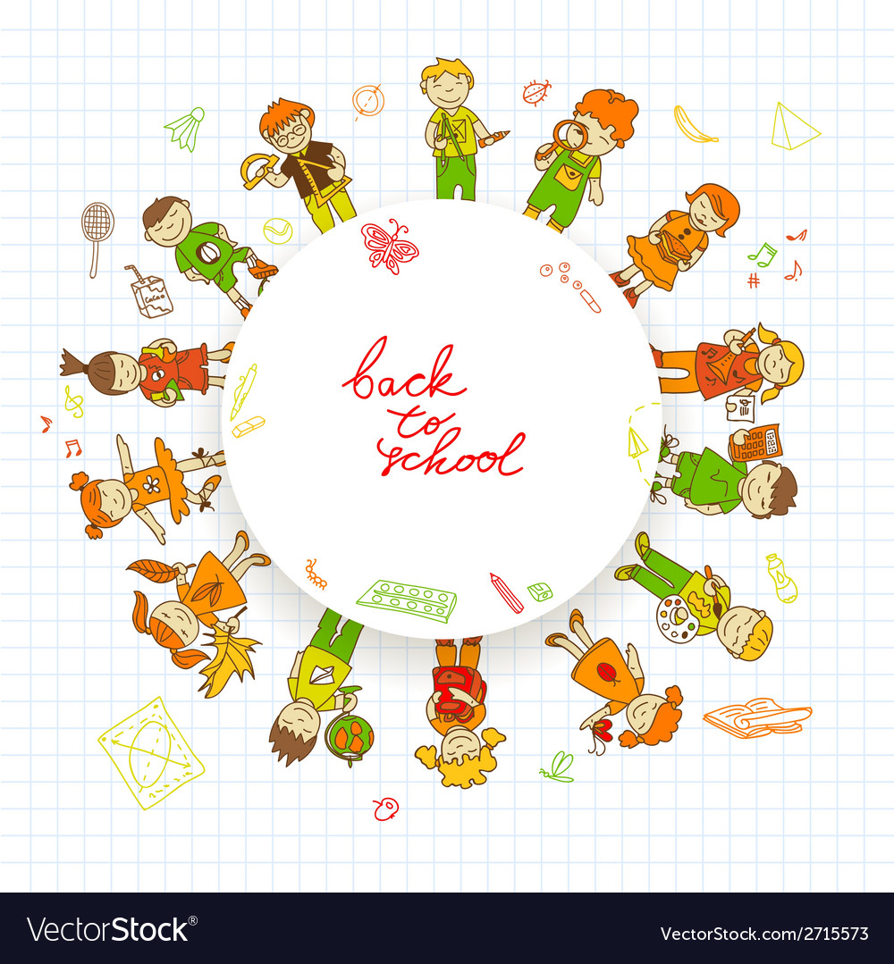 Round banner with kids vector | Price: 1 Credit (USD $1)