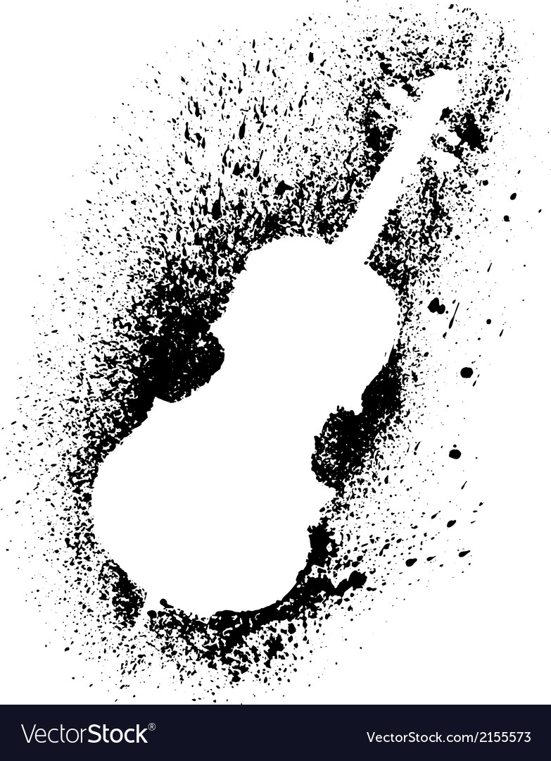 Silhouette of cello with grunge black splashes vector | Price: 1 Credit (USD $1)