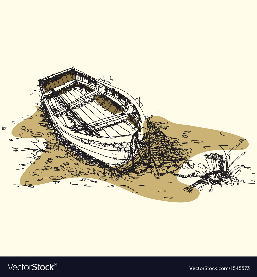 Sketch drawing boat on ground vector | Price: 1 Credit (USD $1)