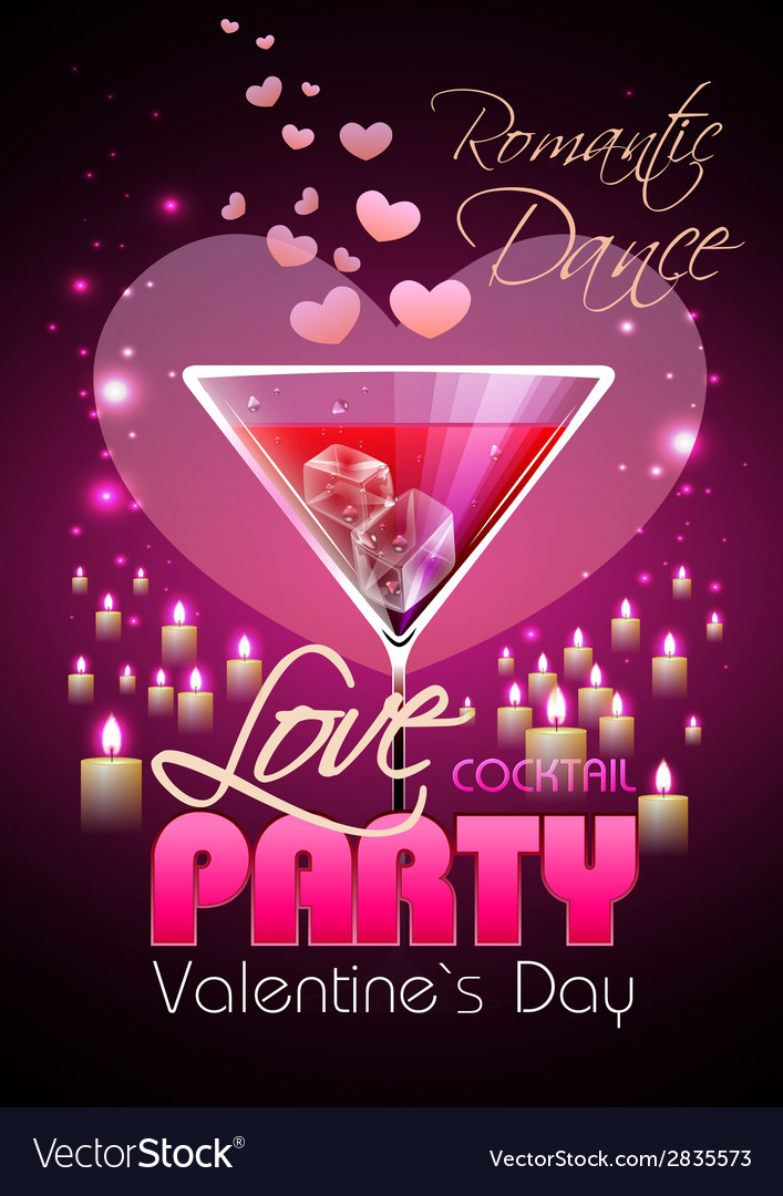 Valentine disco poster with hearts and cocktails vector | Price: 1 Credit (USD $1)