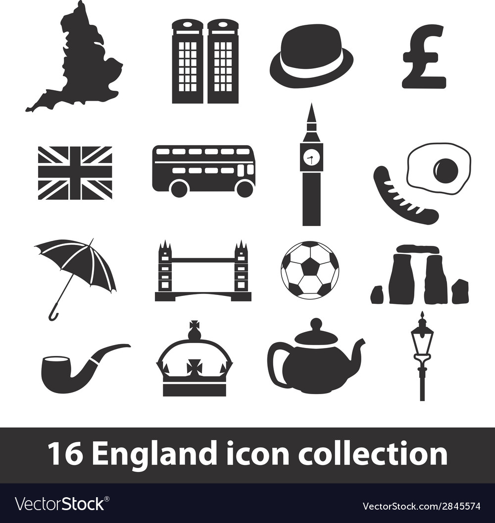 16 england icon collection vector | Price: 1 Credit (USD $1)
