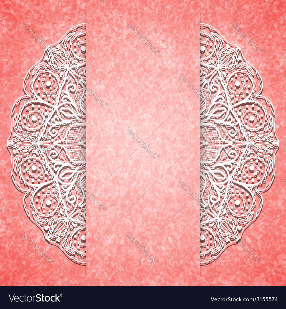 Abstract pink background with white lacy mandala vector | Price: 1 Credit (USD $1)