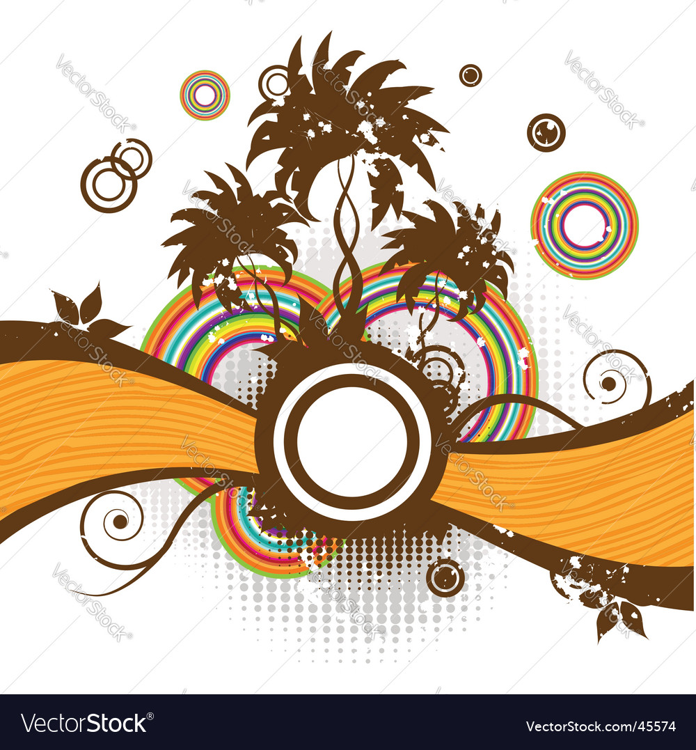 Abstract summer frame palm trees vector | Price: 1 Credit (USD $1)