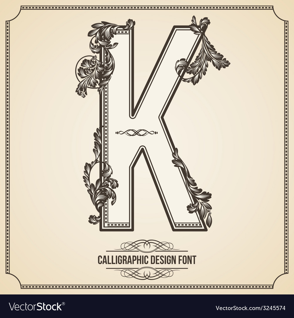Calligraphic font letter k vector | Price: 1 Credit (USD $1)