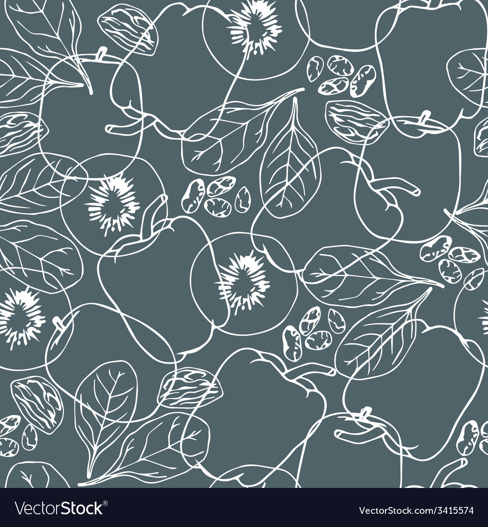 Contour vegetables seamless pattern vector | Price: 1 Credit (USD $1)