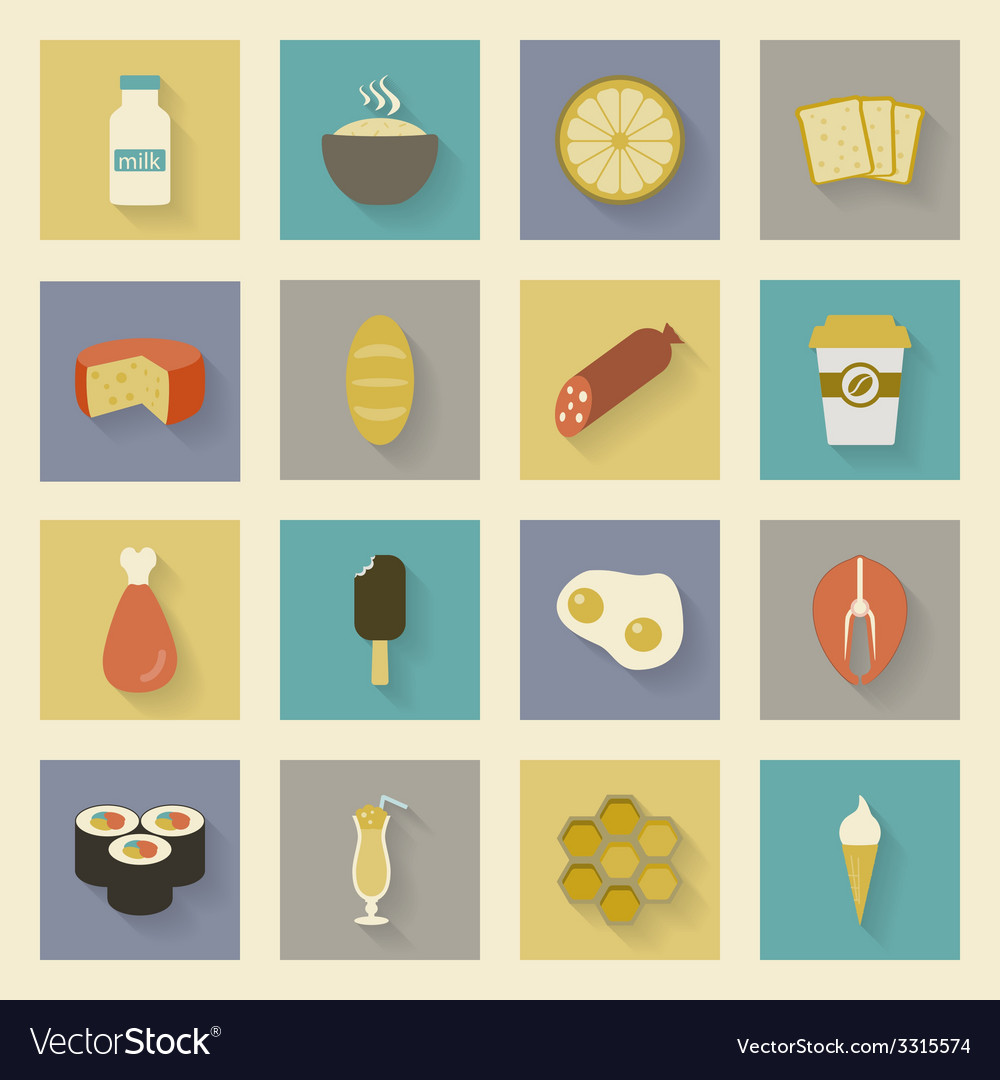 Food flat icons set vector | Price: 1 Credit (USD $1)