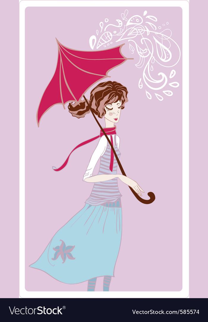 Girl in rain vector | Price: 1 Credit (USD $1)
