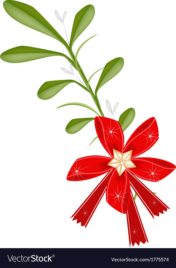 Green mistletoe with a red bow and golden bells vector | Price: 1 Credit (USD $1)