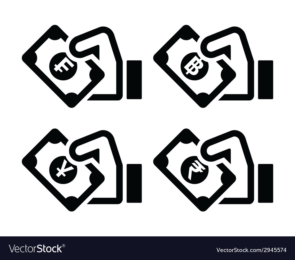 Hand with money icon - franc baht yuan rupee vector | Price: 1 Credit (USD $1)