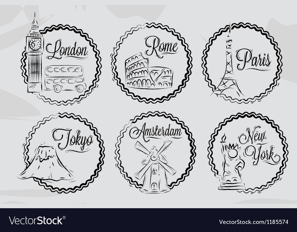 Icons with world cities 2 vector | Price: 1 Credit (USD $1)