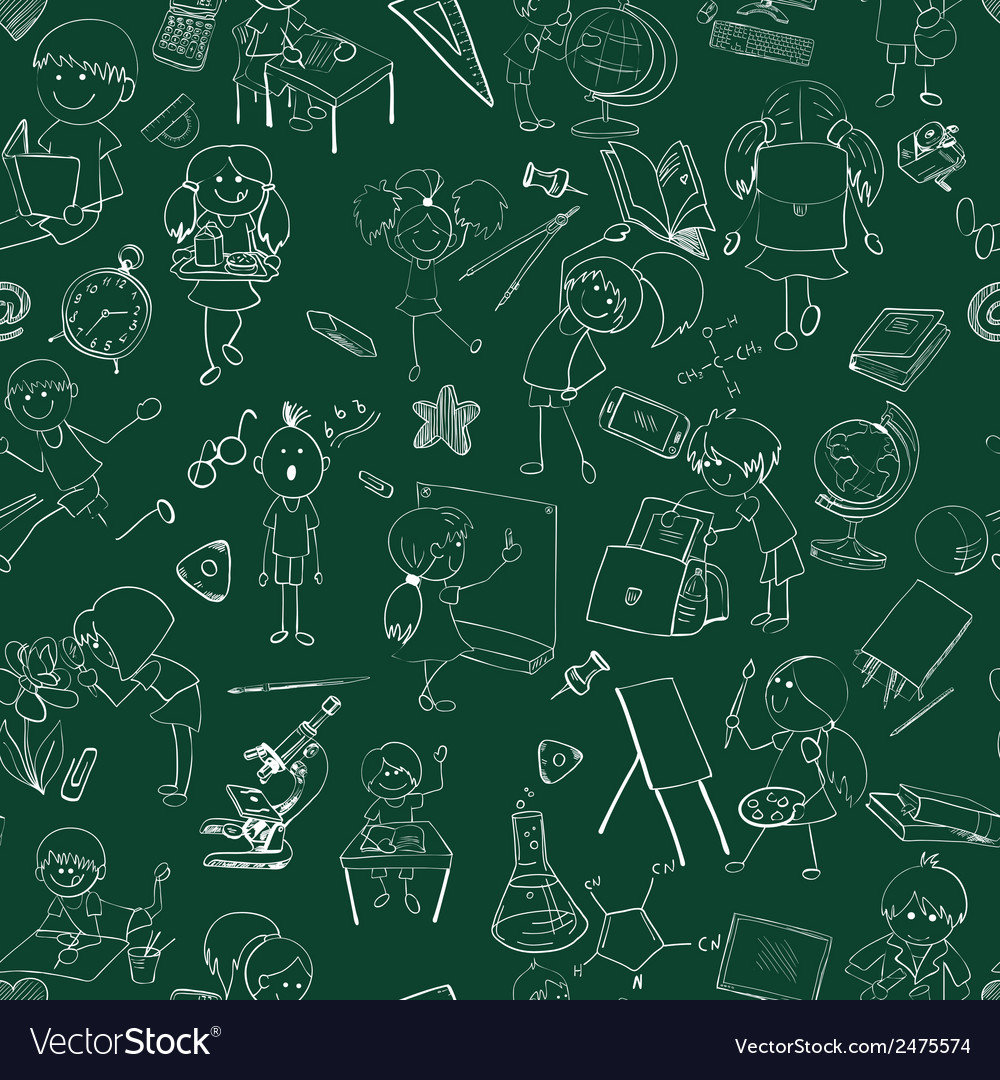 School kids doodle sketch seamless vector | Price: 1 Credit (USD $1)