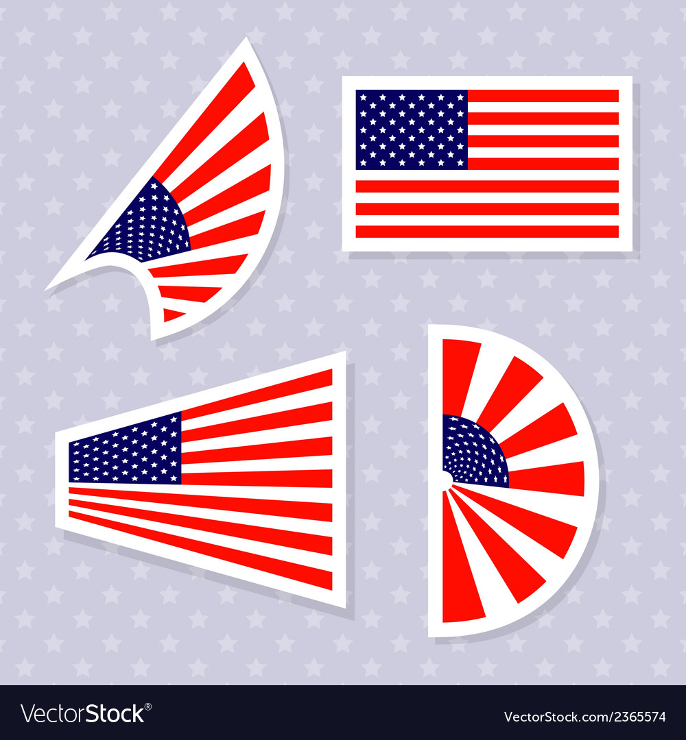 Set of stylish american flags independence day des vector | Price: 1 Credit (USD $1)