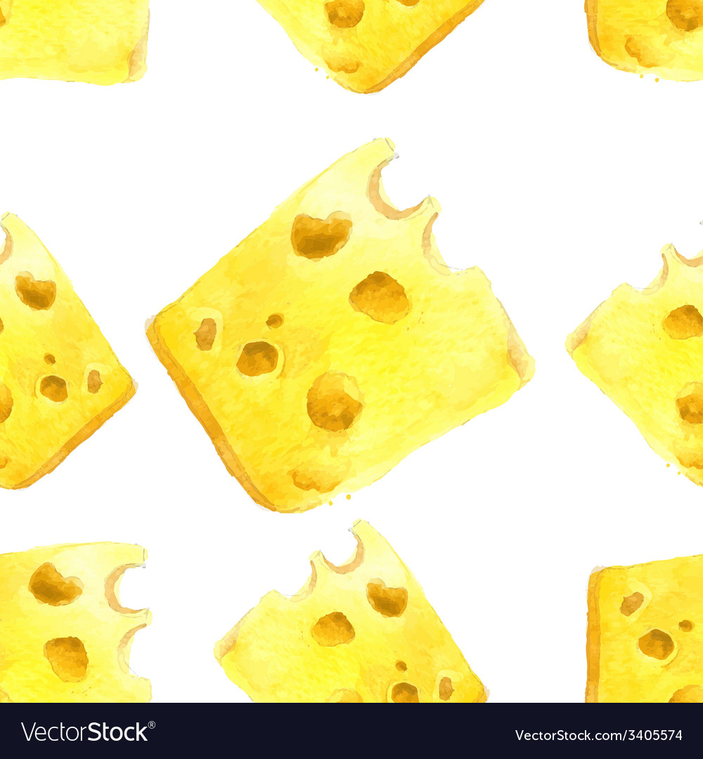 Watercolor cheese seamless vector | Price: 1 Credit (USD $1)