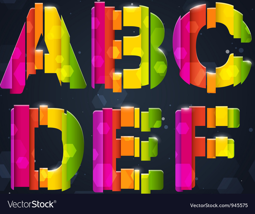Abstract rainbow font a-f vector | Price: 3 Credit (USD $3)