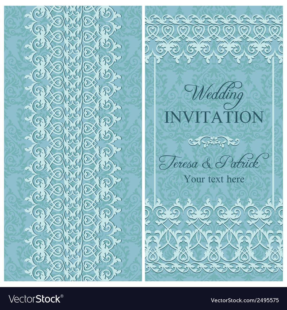 Baroque wedding invitation blue vector | Price: 1 Credit (USD $1)
