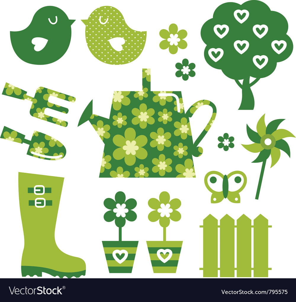 Garden objects vector | Price: 1 Credit (USD $1)