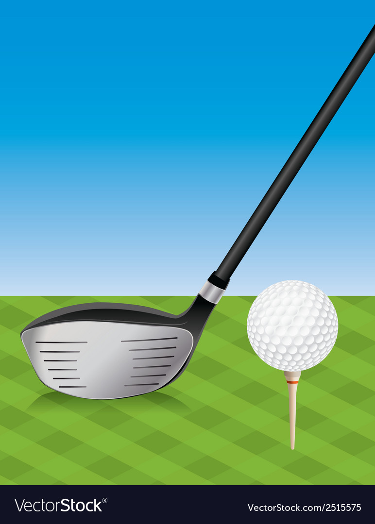 Golf driver and teed ball vector | Price: 1 Credit (USD $1)