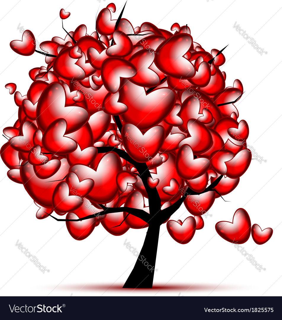 Love tree design with red hearts for valentine day vector | Price: 1 Credit (USD $1)