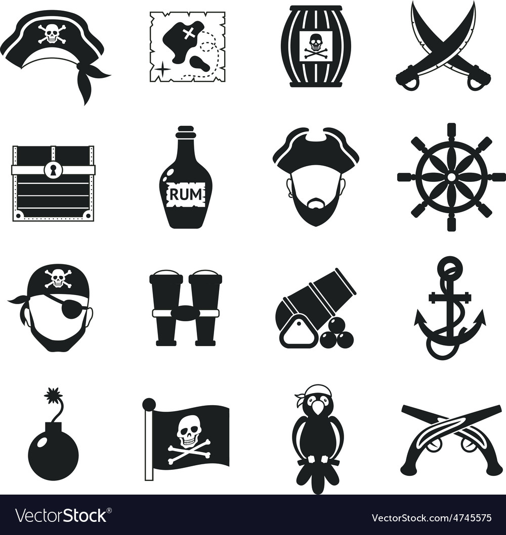 Pirate icons set black vector | Price: 1 Credit (USD $1)