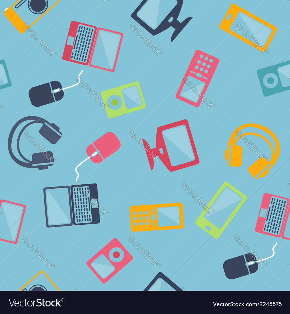 Seamless pattern of digital devices vector | Price: 1 Credit (USD $1)