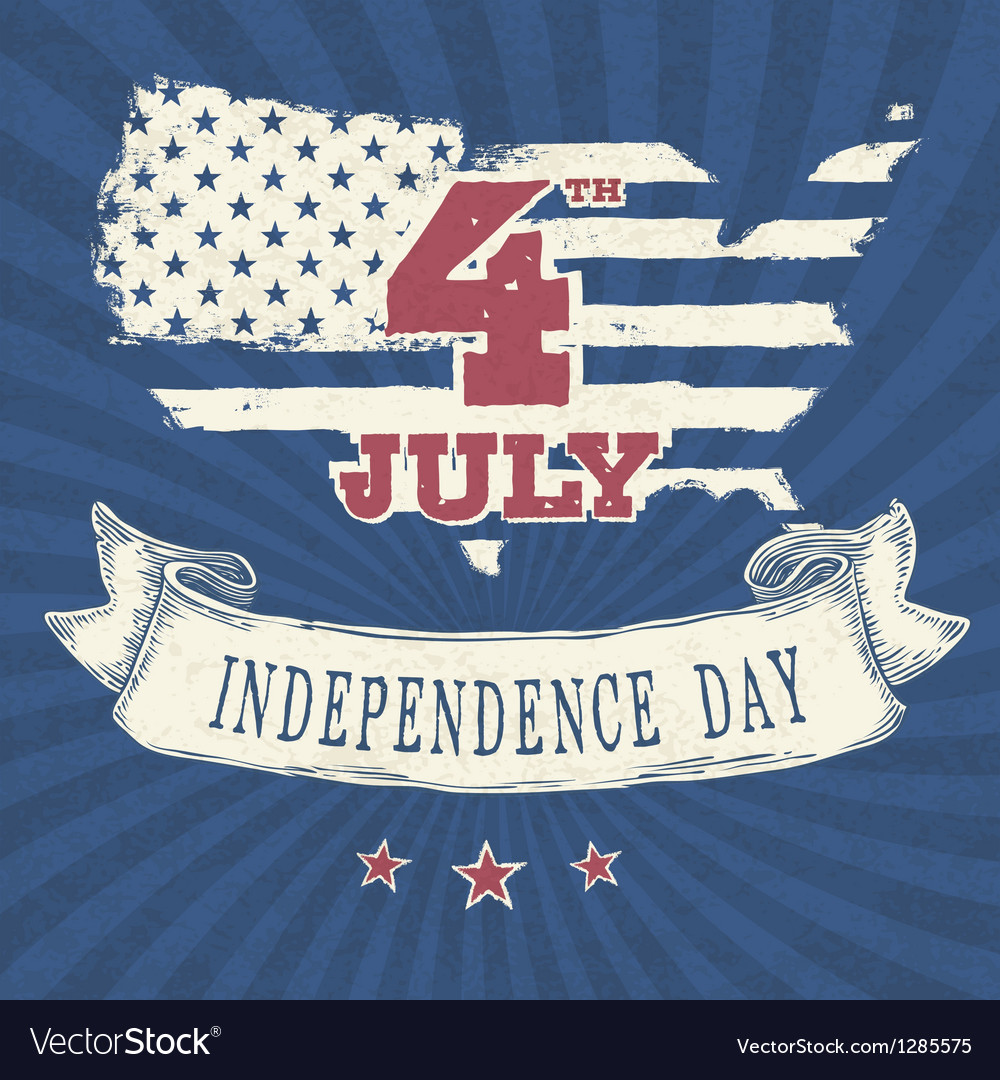 Vintage styled independence day poster vector | Price: 1 Credit (USD $1)