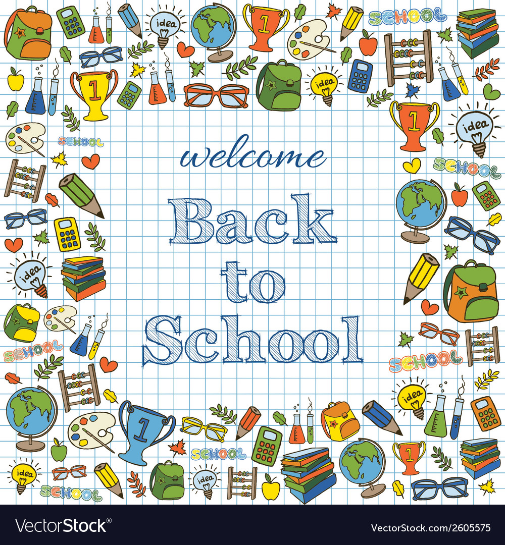 Welcome back to school colored card vector | Price: 1 Credit (USD $1)