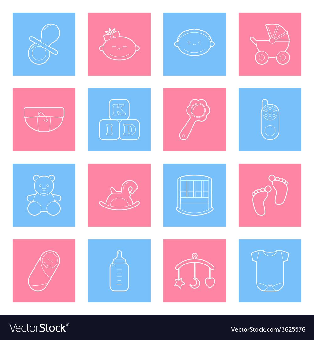 Baby lines icons set vector | Price: 1 Credit (USD $1)