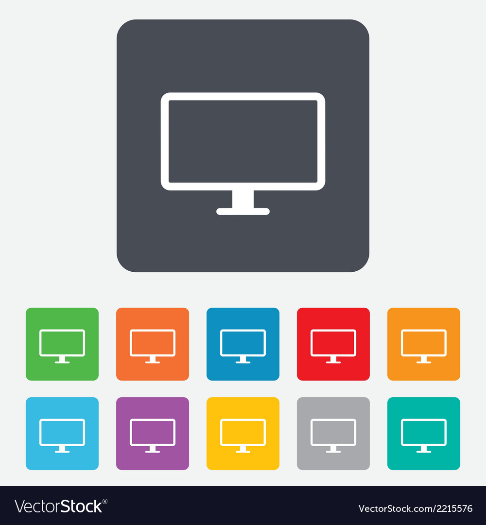 Computer widescreen monitor sign icon vector | Price: 1 Credit (USD $1)