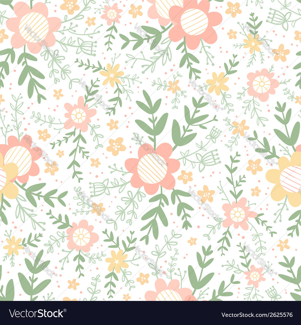 Decorative flowers seamless pattern vector | Price: 1 Credit (USD $1)