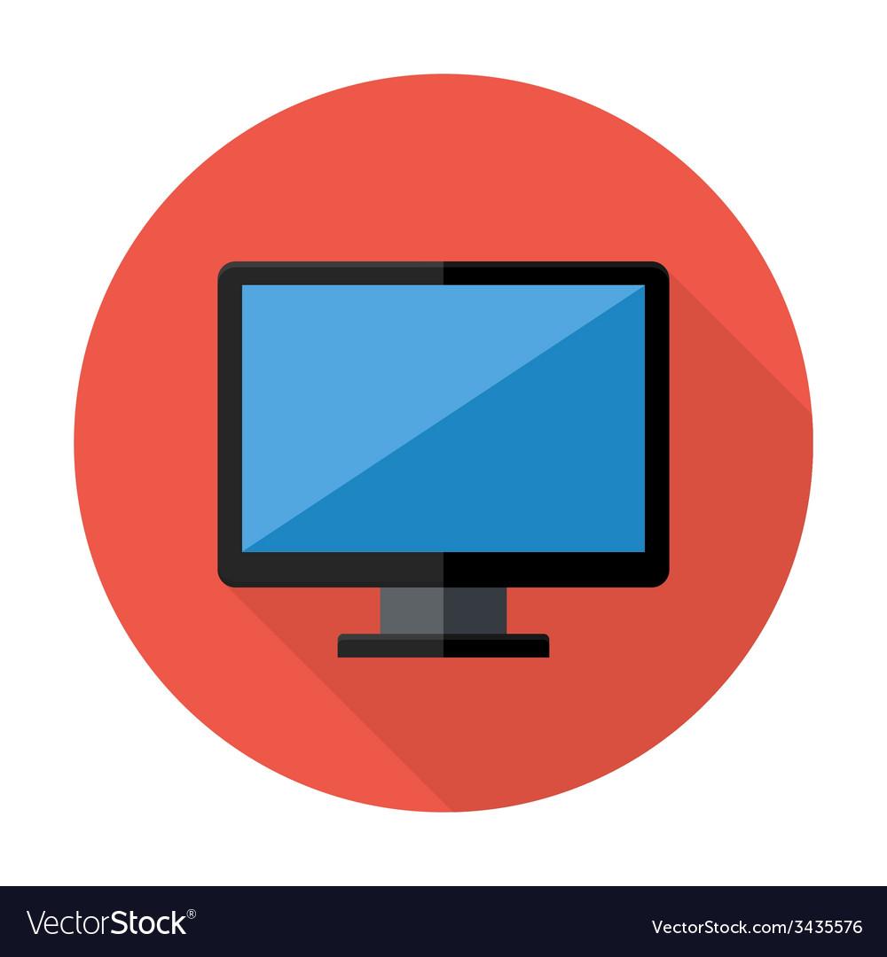 Desktop flat circle icon vector | Price: 1 Credit (USD $1)